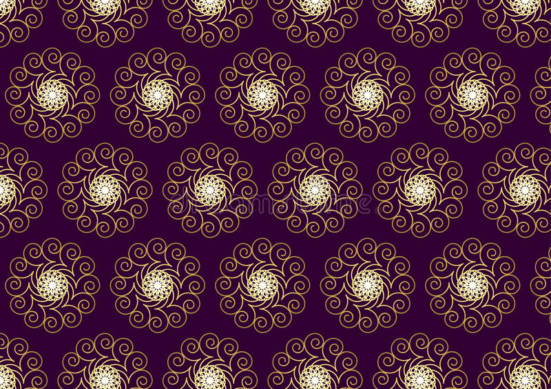 Gold Flower and Swirl Pattern on Dark Purple Background. Luxurious bloom and star and spiral pattern on purple background. Lofty swirl pattern style for vintage royalty free illustration