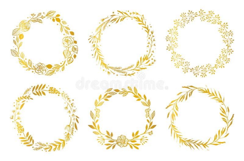 Gold flower wreaths. Hand drawn design elements. Floral pattern stock illustration