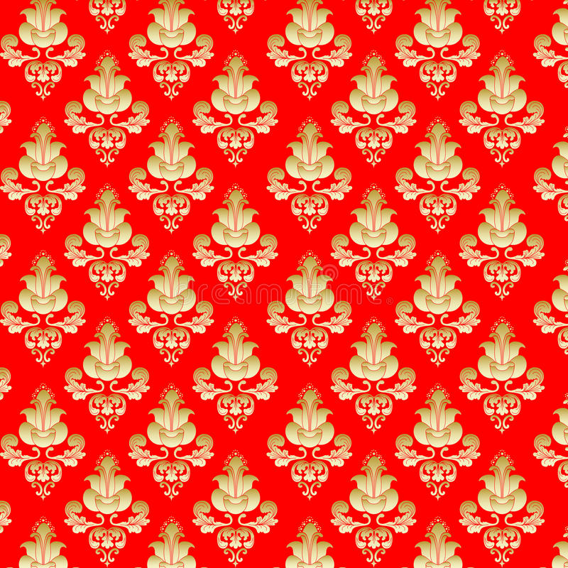 gold flowers on red background stock illustration