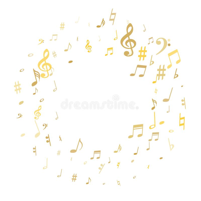 Stylish musical notation symphony signs, notes for sound and tune music. Gold flying musical notes isolated on white backdrop. Stylish musical notation symphony vector illustration