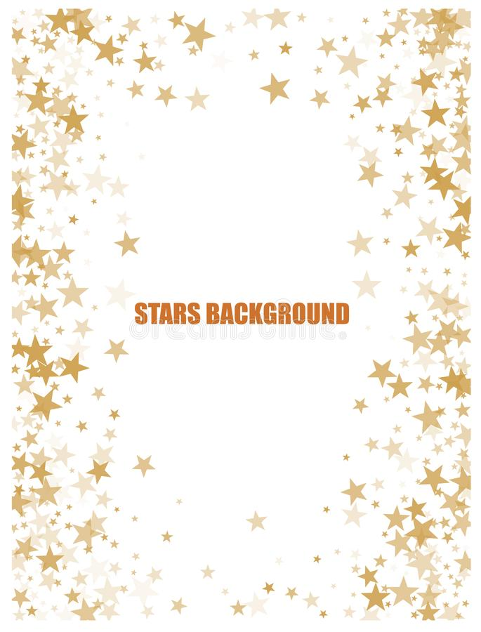 Gold flying stars confetti magic christmas frame vector, premium sparkles stardust border background. royalty free illustration