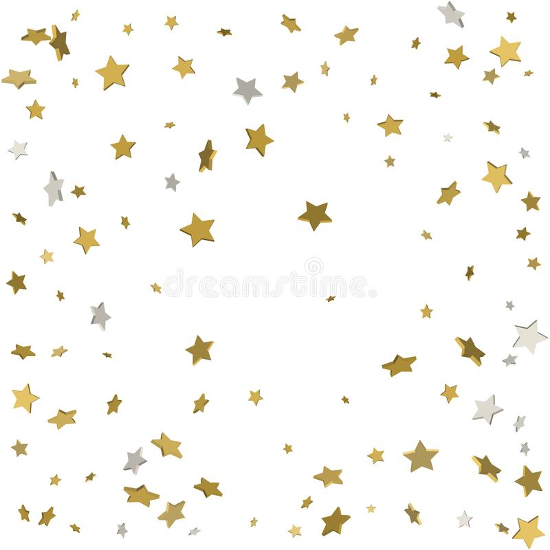Gold flying stars confetti magic christmas frame vector, premium stock illustration