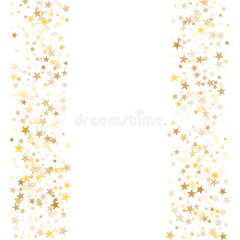 Gold flying stars confetti magic holiday frame vector, premium sparkles stardust border background. vector illustration