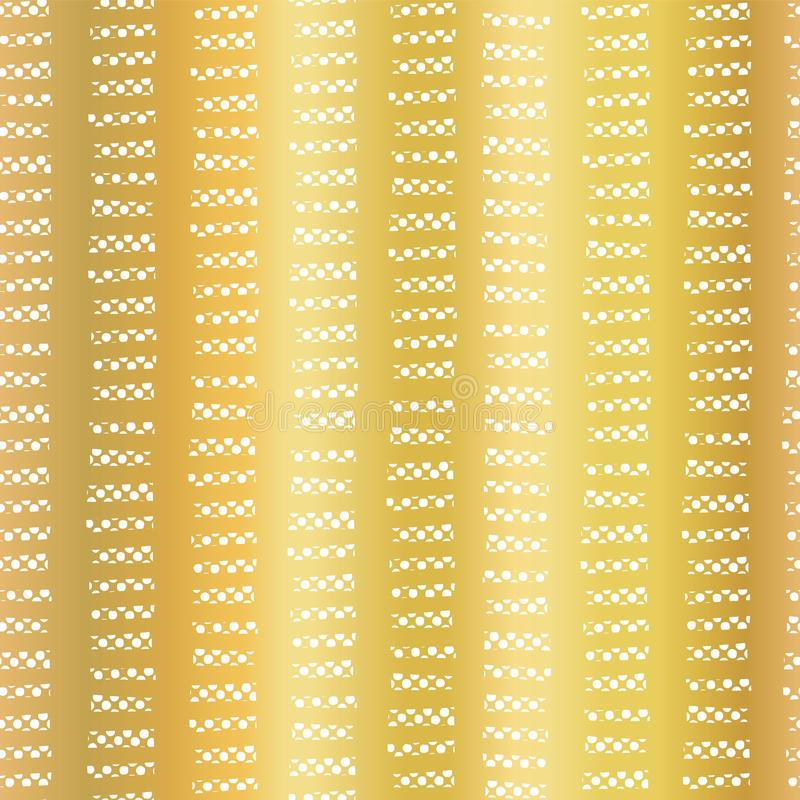 Gold foil abstract geometric seamless vector pattern. Horizontal white dashes in vertical lines on golden background. Elegant vector illustration