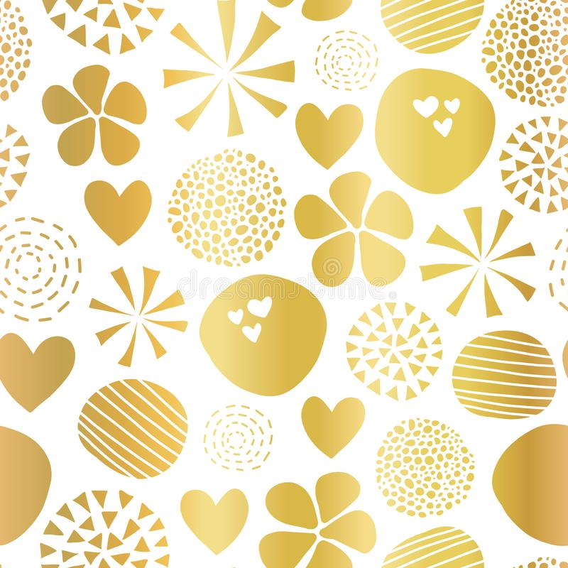 Gold foil abstract seamless vector pattern with flowers, dots, hearts on white background. Cute golden metallic foil feminine. Design for girl, women, digital vector illustration