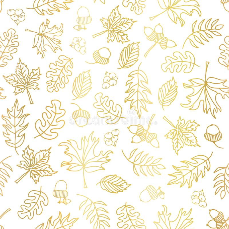 Gold foil autumn leaves seamless vector background. Golden abstract fall leaf shapes on white background. Elegant, luxurious stock illustration