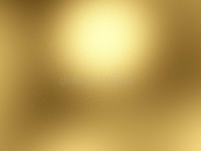 Gold foil background with light reflections. Golden textured wall. 3D rendering