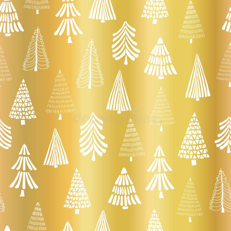 Gold foil Christmas tree seamless vector pattern backdrop. White doodle trees on metallic shiny golden background. Elegant design royalty free illustration