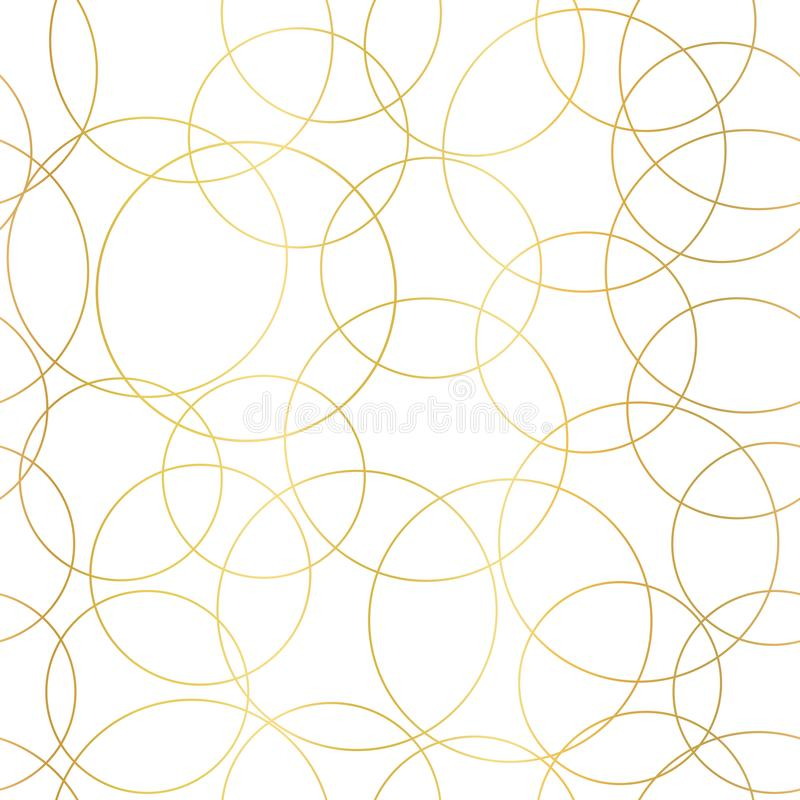 Gold foil circles abstract seamless vector pattern. Modern elegant background shiny golden overlapping circles on white stock illustration