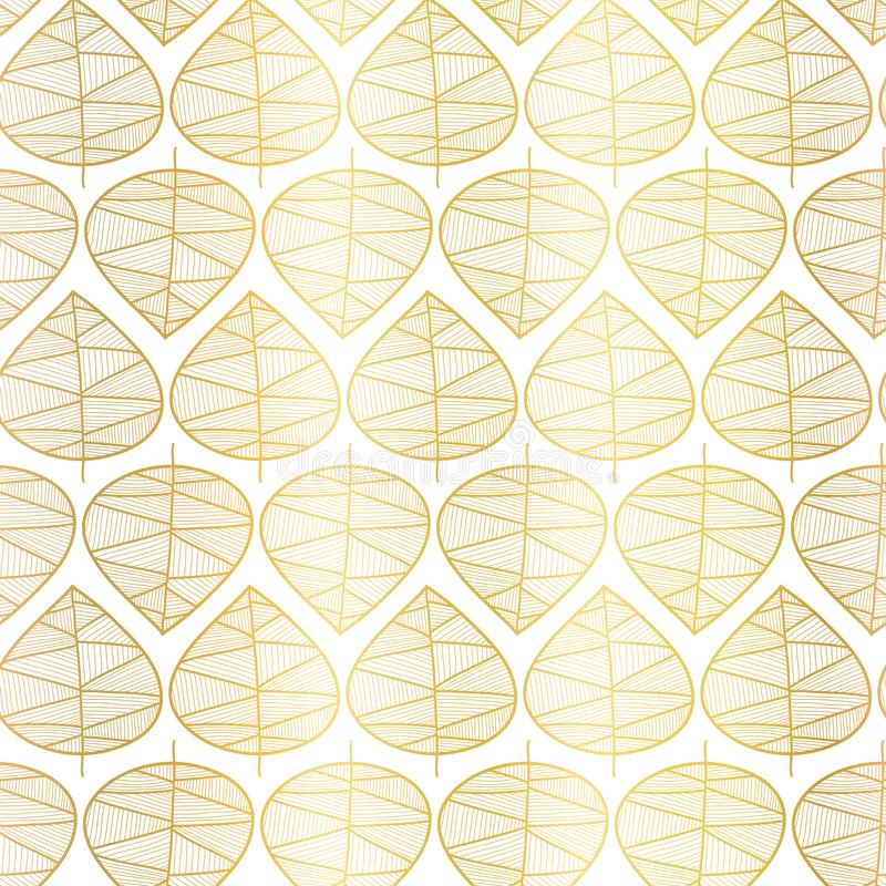 Gold foil fall leaves seamless vector background. Gold foil fall leaves on white seamless vector background. Subtle abstract fall pattern. Vector repeating stock illustration