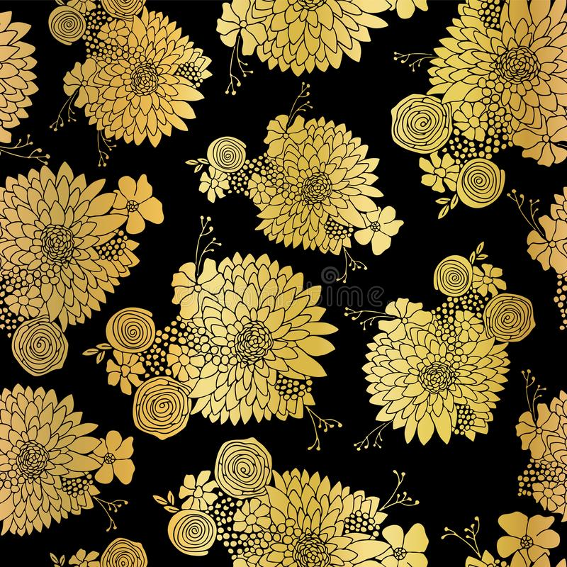 Gold foil Flower pattern seamless background vector. Floral arrangements in metallic on black with Aster, Daisy, Petunia, and stock illustration