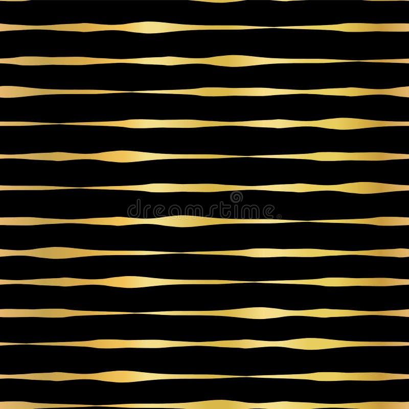 Gold foil hand drawn horizontal lines seamless vector pattern. Golden wavy irregular stripes on black background. Elegant design vector illustration