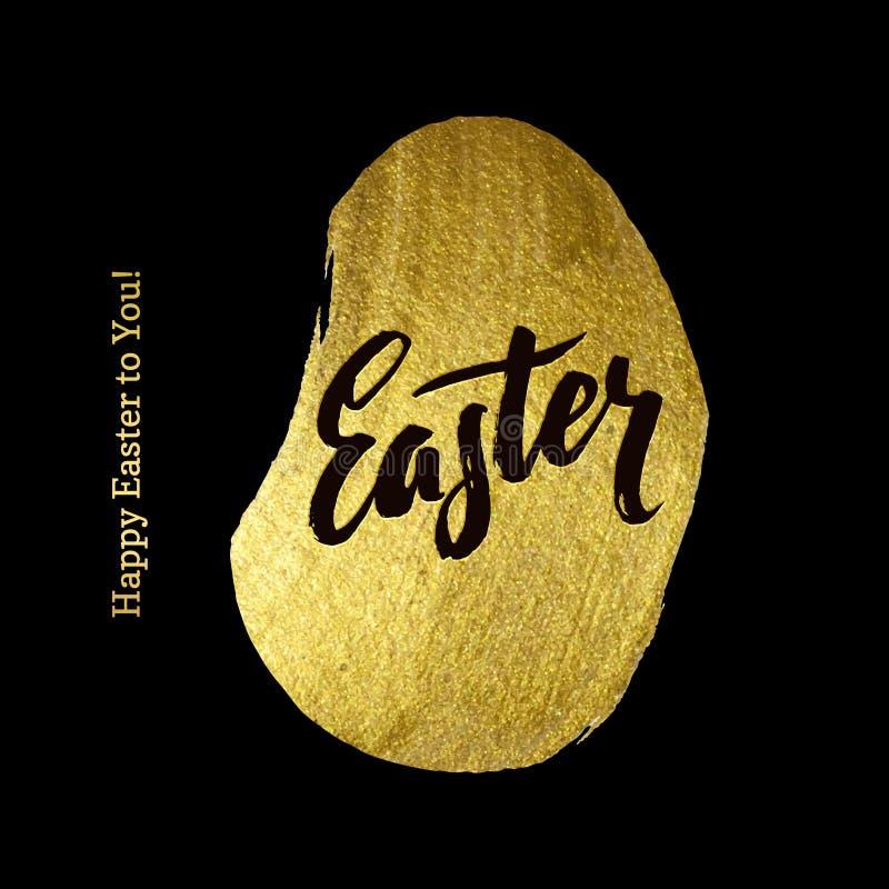 Gold Foil Happy Easter Greeting Egg Card. Black Background royalty free illustration