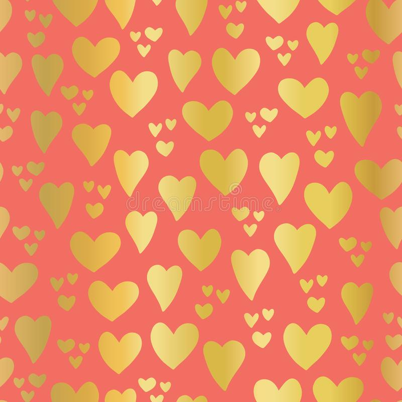 Gold foil Hearts on coral background seamless vector pattern. Hand drawn hearts isolated. Shiny metallic hearts. Elegant, luxury royalty free illustration