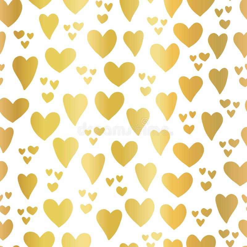 Gold foil Hearts on white seamless vector pattern stock illustration