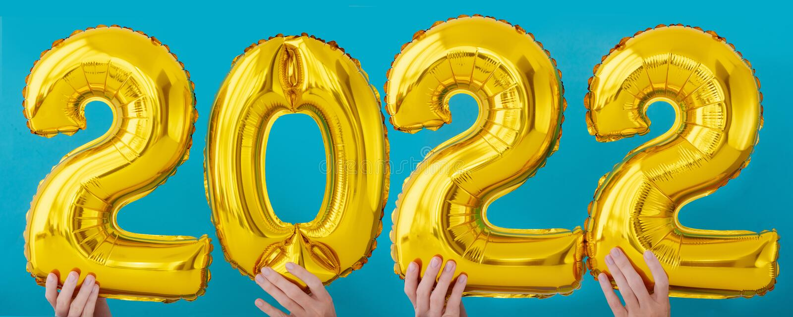Gold foil number two thousand and twenty two 2022 celebration stock images