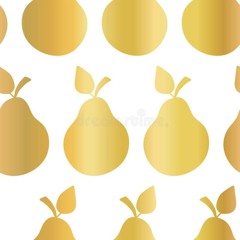 Gold foil pear seamless vector pattern. Golden shiny pears in rows on white background. Elegant, luxurious food print for paper, royalty free illustration