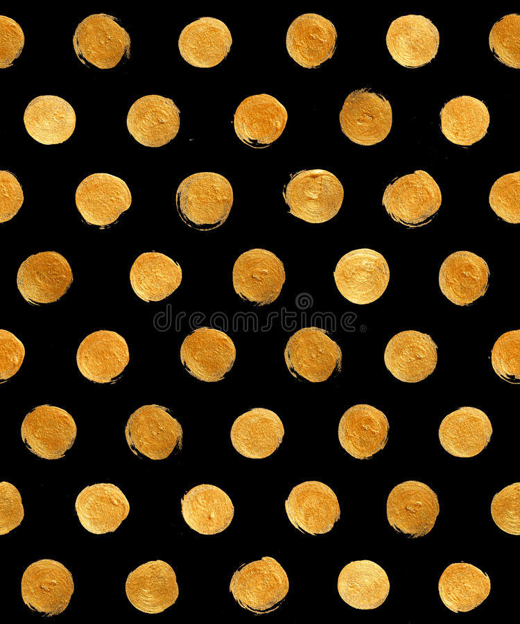 Gold Foil Polka Dot Seamless Pattern Paint Stain Abstract Illustration. Shining Brush Stroke Shape For You Amazing Design Project royalty free illustration