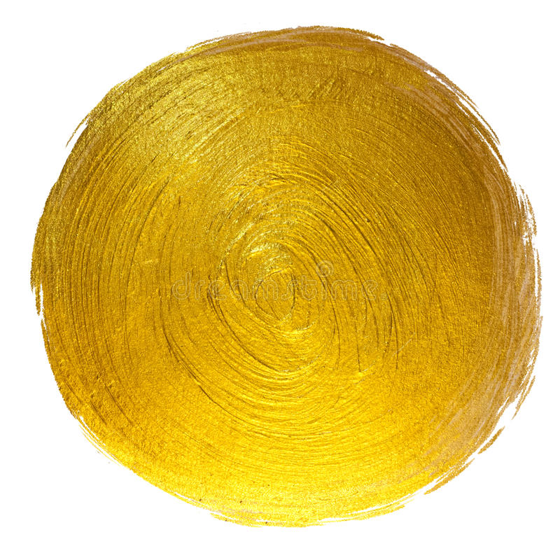Gold Foil Round Shining Paint Stain Hand Drawn Raster Illustration. stock photos