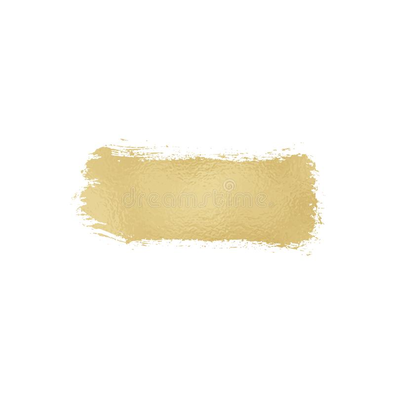 Gold foil texture brush stroke. Smudge sparkle glossy paint on the white background. Vector illustration royalty free illustration