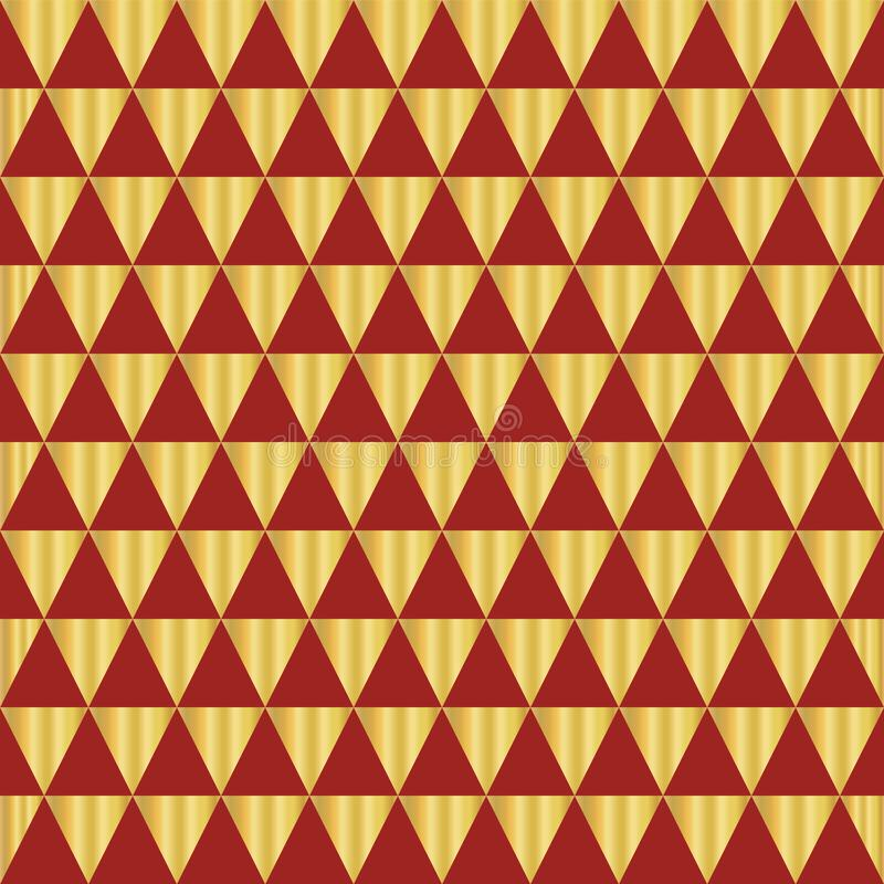 Gold foil triangle geometric seamless vector pattern. Golden shiny triangle shapes on red background. Elegant art for web banners, royalty free illustration