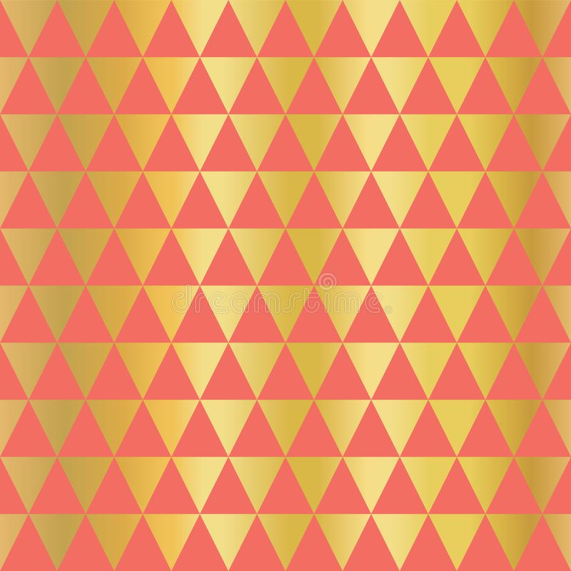 Gold foil triangle seamless vector background. Horizontal gold triangle shapes on coral pattern. Elegant simple, luxurious design vector illustration