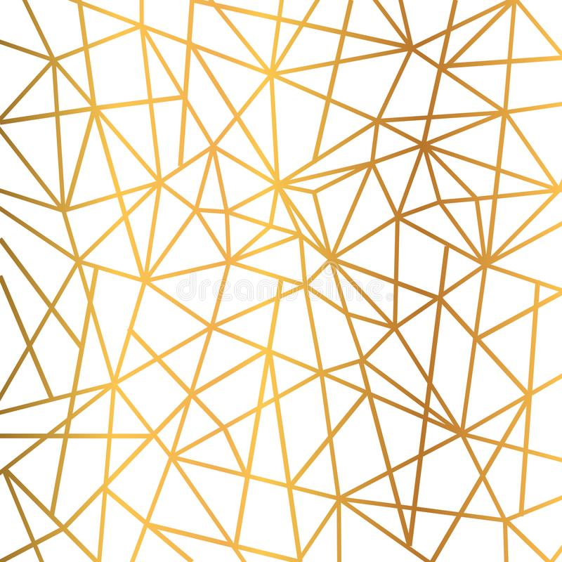 Gold foil wire triangles geometric seamless mosaic repeat pattern background - vector royalty free illustration