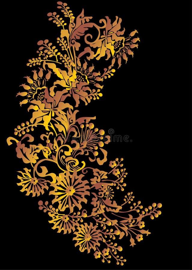 Gold foliage on black vector illustration