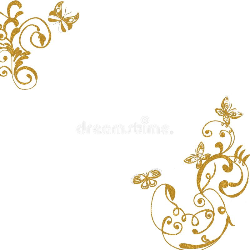 Download Gold Foliage Butterflies Background Stock Illustration - Image: 12709170