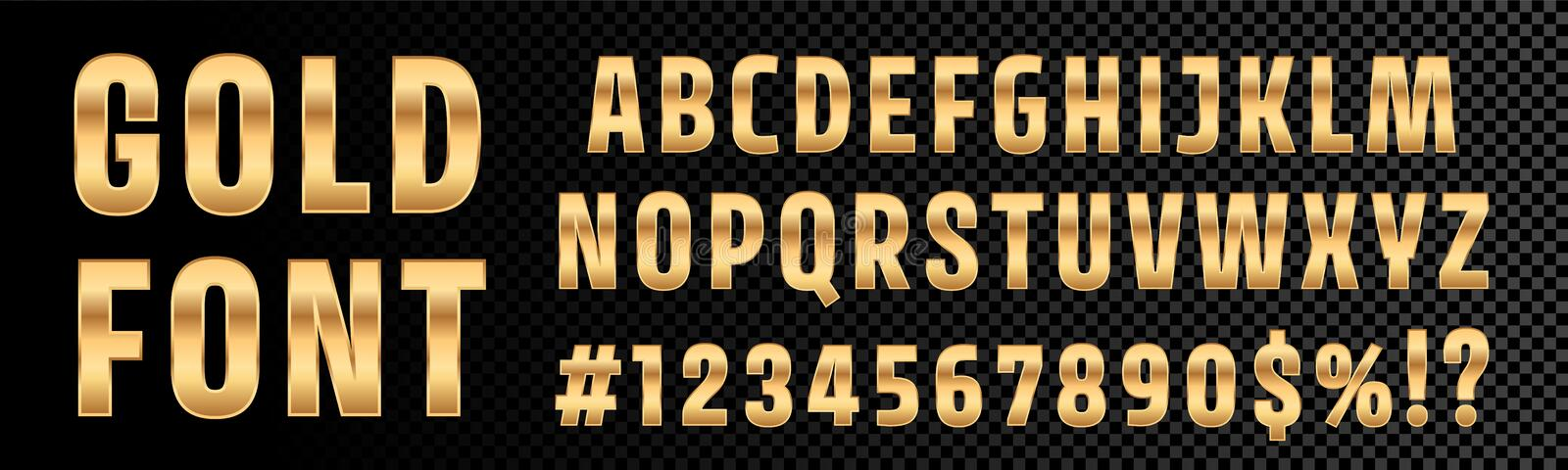 Gold font numbers and letters alphabet typography. Vector golden font type with 3d gold effect. Font royalty free illustration