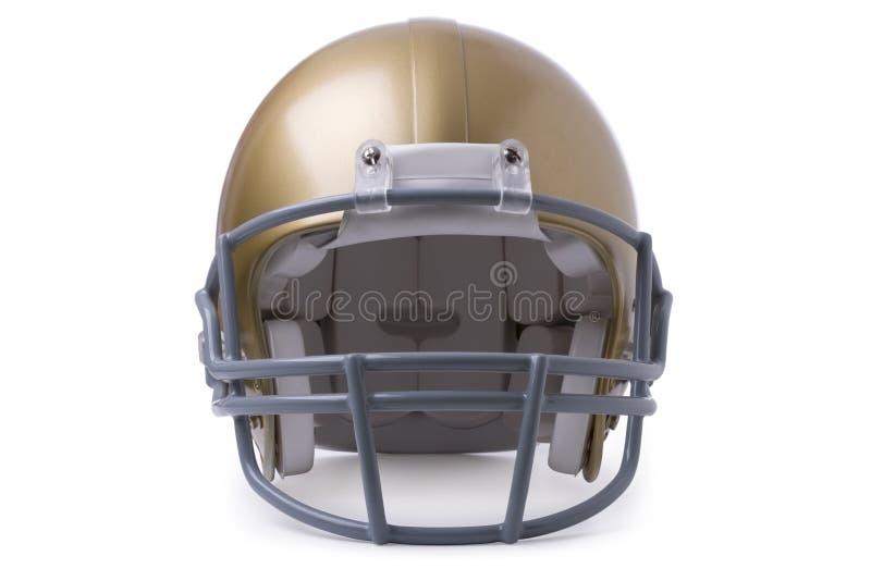 Gold football helmet isolated on white stock image