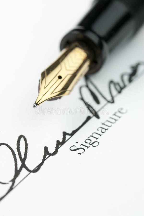 Gold Fountain Pen with Signature stock image
