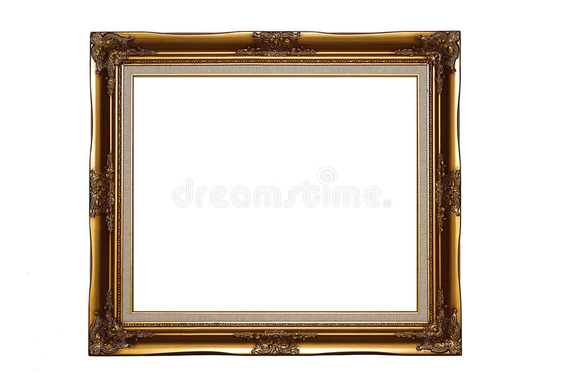 Gold frame. With a noble and unique photo frame (To put to your own picture frame stock images