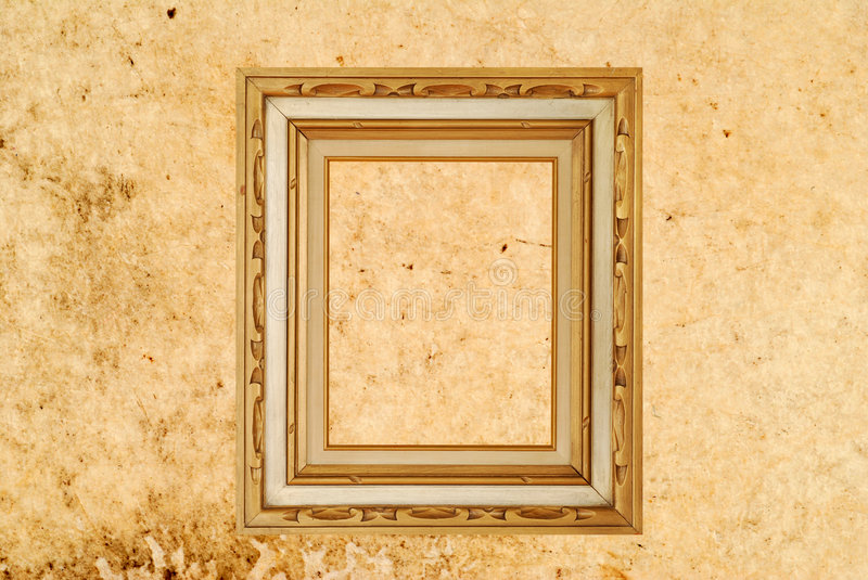 Gold Frame. On textured background royalty free stock photos