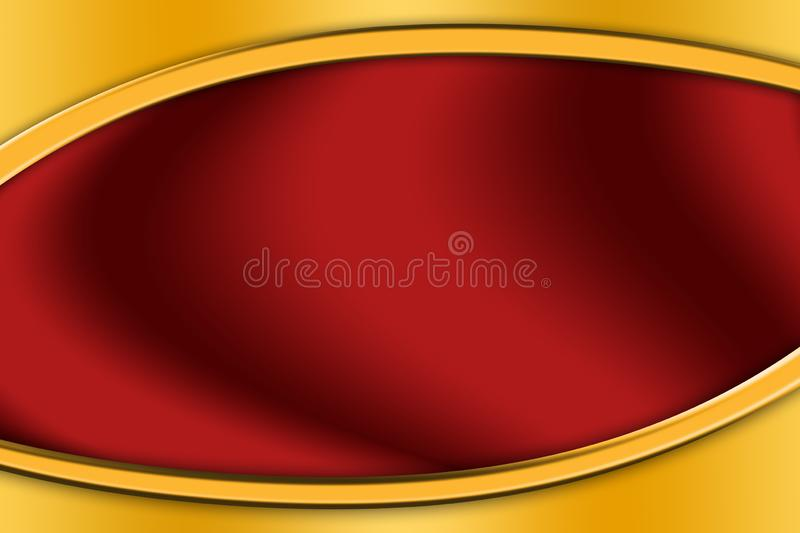 Gold frame around a red background royalty free stock image