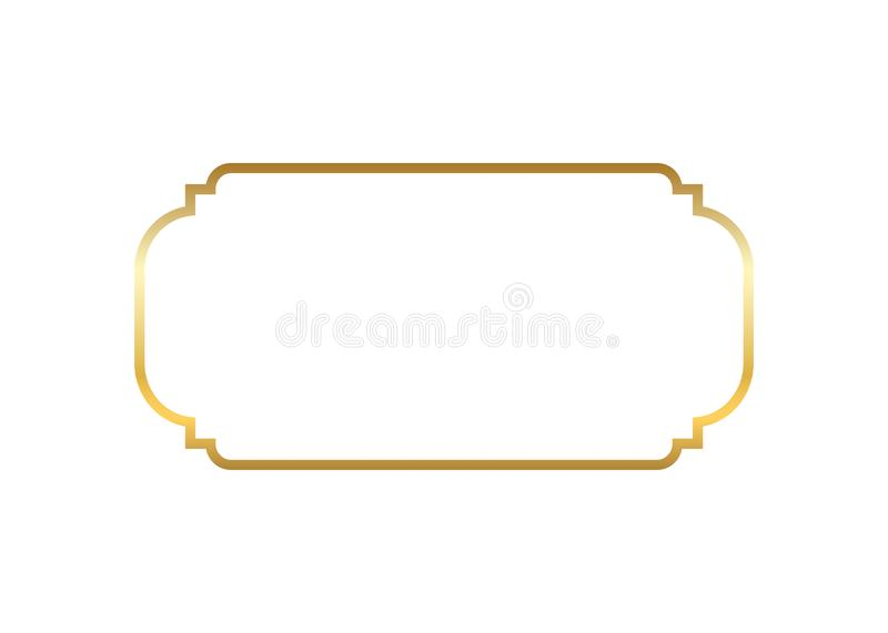 Gold frame. Beautiful simple golden design. Vintage style decorative border isolated white background. Elegant gold art. Frame. Empty copy space decoration stock illustration