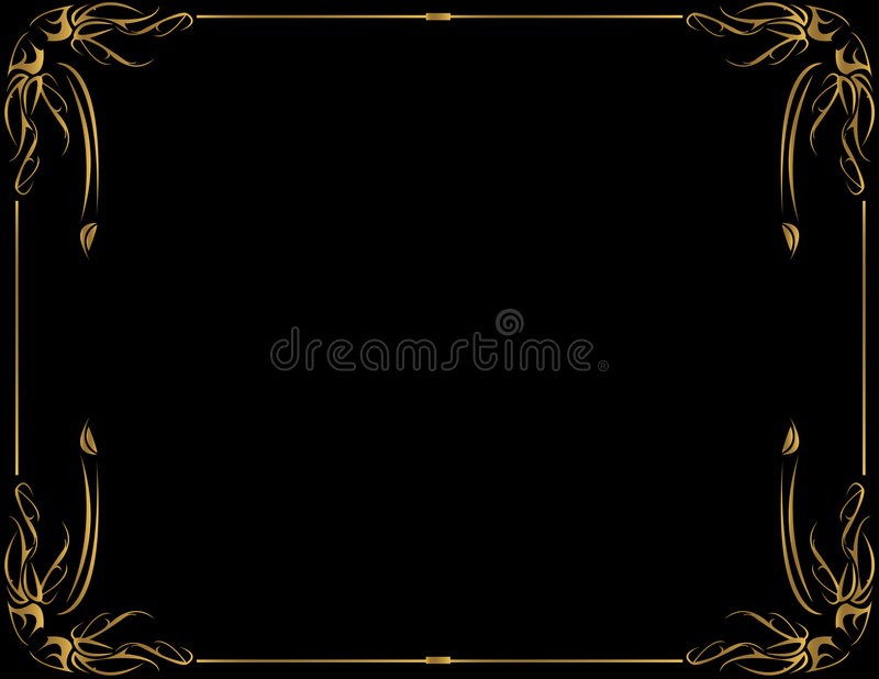 Gold frame on black background stock illustration