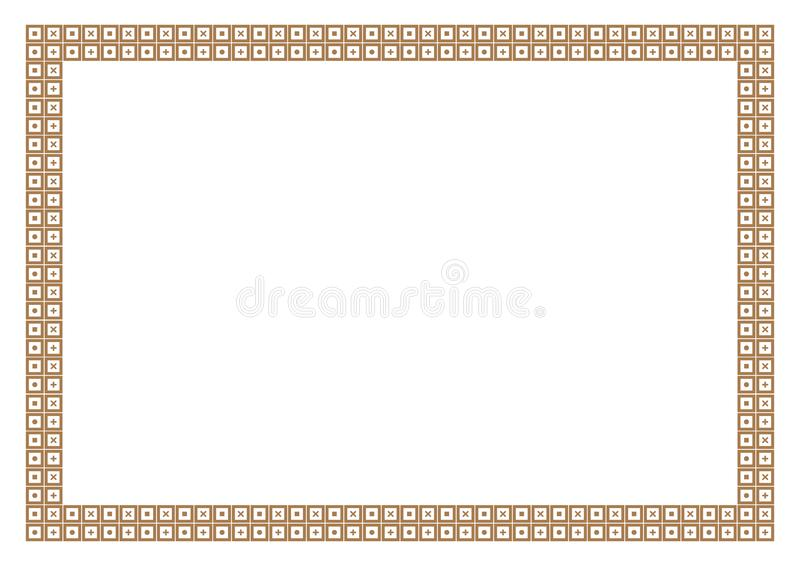 Gold Frame & Border Math Style with square pattern vector illustration