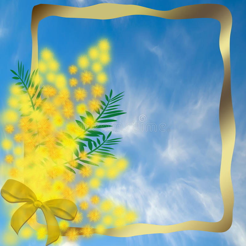 Gold frame with a bouquet of mimosa vector illustration