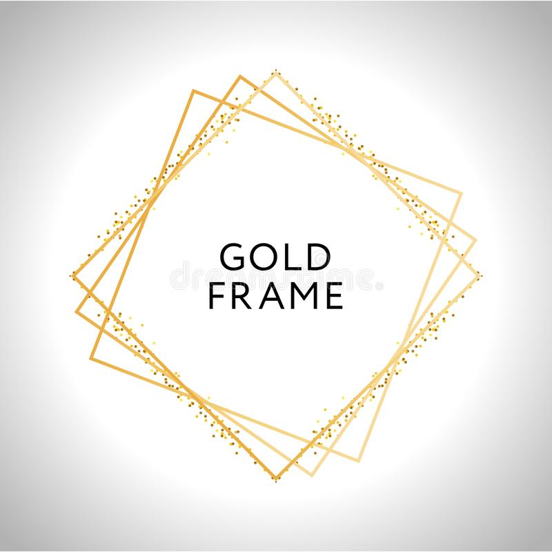 Gold frame decor isolated Vector shiny gold metallic gradient border pattern for your design. Card, background, foil, golden, decoration, illustration, glitter vector illustration