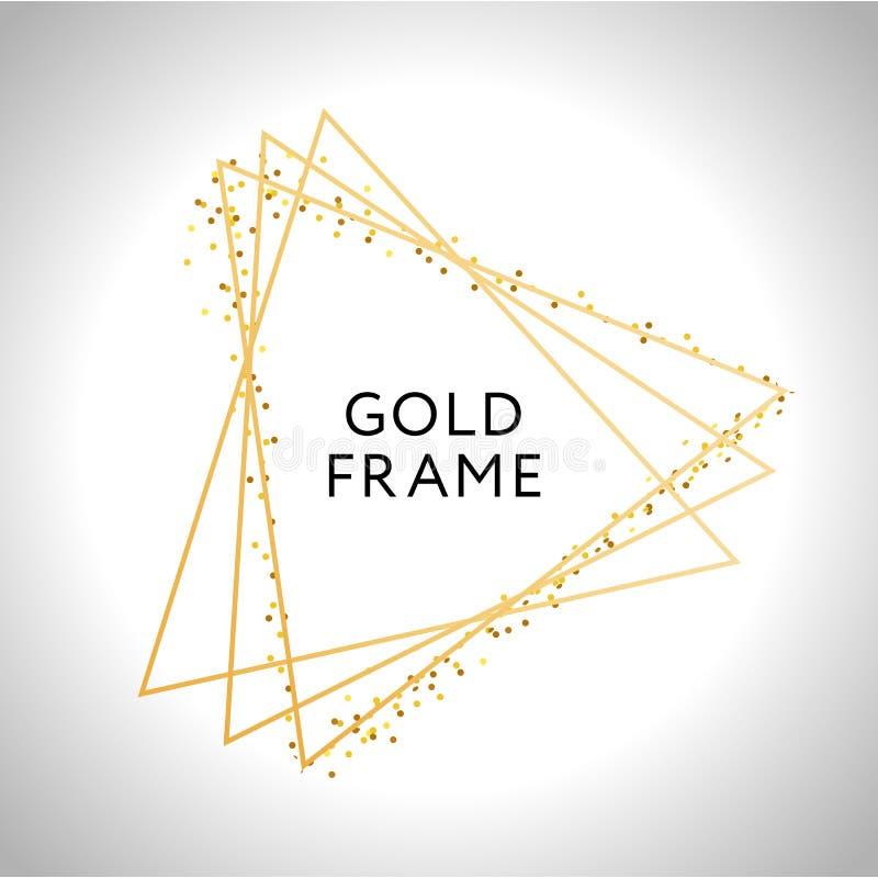 Gold frame decor isolated Vector shiny gold metallic gradient border pattern for your design. Card, background, foil, golden, decoration, illustration, glitter stock illustration