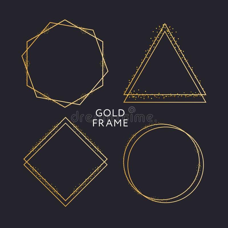 Gold frame decor isolated Vector shiny gold metallic gradient border pattern for your design. Card, background, foil, golden, decoration, illustration, glitter royalty free illustration