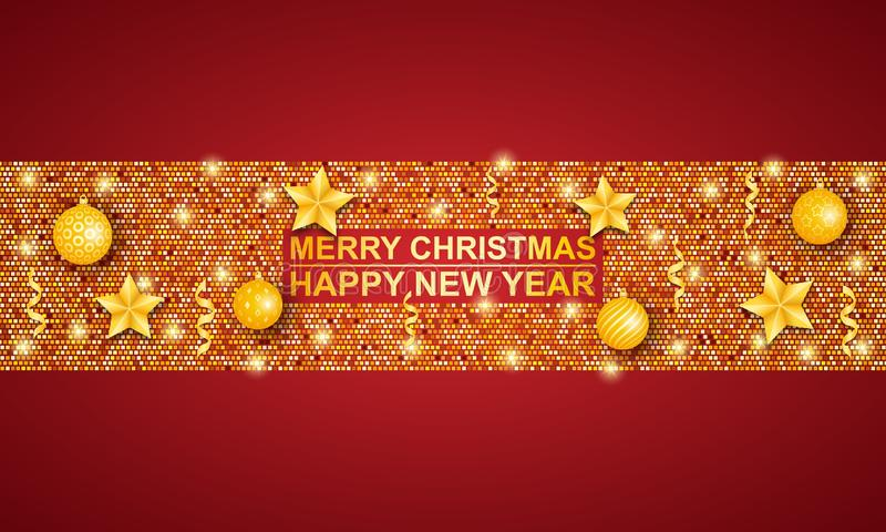 Gold frame with decorations on red background. Merry Christmas and happy New year. royalty free illustration