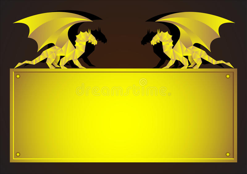 Download Gold frame with Dragon stock vector. Image of chinese - 22261077