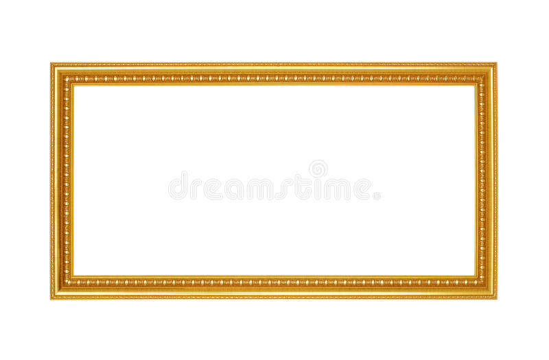 Gold frame. Gold/gilded arts and crafts pattern picture frame. Isolated on white stock photo
