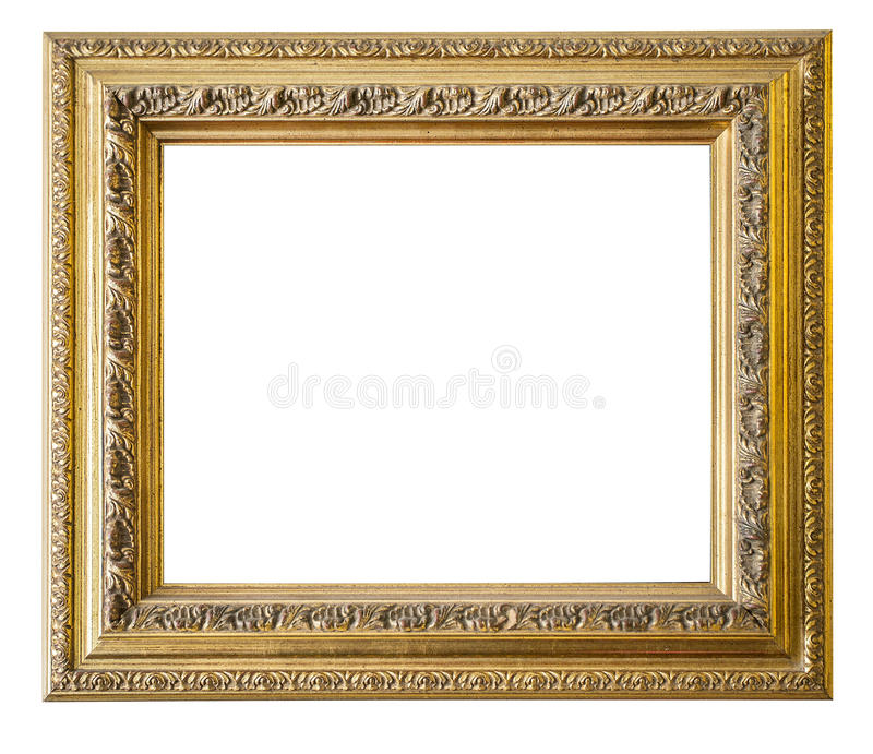 Gold frame. Gold/gilded arts and crafts pattern picture frame. Isolated on white with clipping path stock photo