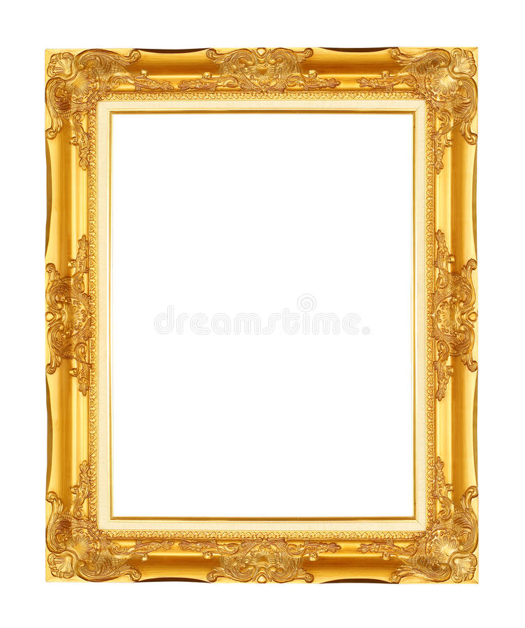 Gold frame. Gold/gilded arts and crafts pattern picture frame. Isolated on white stock images