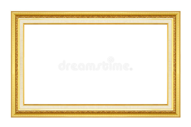 Gold frame. Gold/gilded arts and crafts pattern picture frame. Isolated on white royalty free stock image