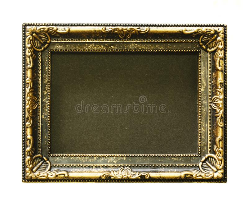 Gold frame. Gold/gilded arts and crafts pattern picture frame. Isolated on white. royalty free stock photo