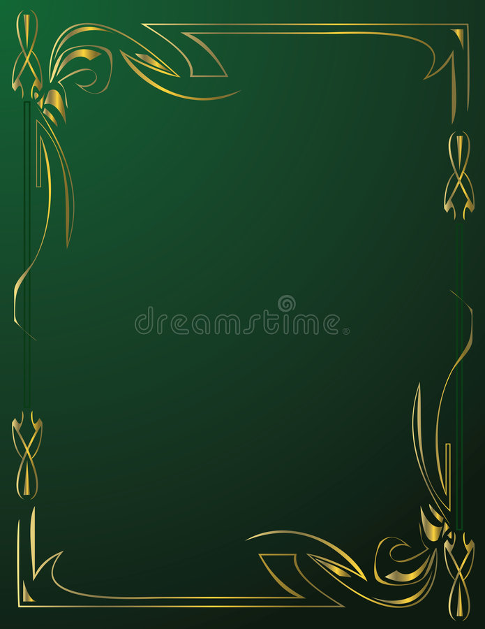 Gold frame on green background royalty free stock photo